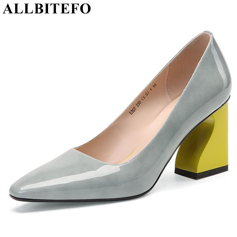ALLBITEFO fashion genuine leather woman shoes high heel shoes hoof heels sexy spring summer cool ladies girls woman shoesALLBITEFO fashion genuine leather woman shoes high heel shoes hoof heels sexy spring summer cool ladies girls woman shoes