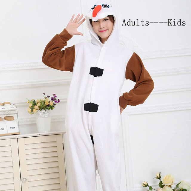 60d45ab01d97 2016 Fleece Winter pijama mujer Snowman Olaf onesie women men kids ...