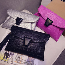 Fashion casual good quality crocodile envelope clutch bag ladies handbag party purse shoulder bag messenger bag free shipping