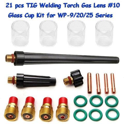 Tocha de Soldagem Kit para Wp-9 Nova Tig Gás Lente 10 Vidro Pyrex Copo 20 25 Série Ferramenta Acessórios 21 Pçs – Set