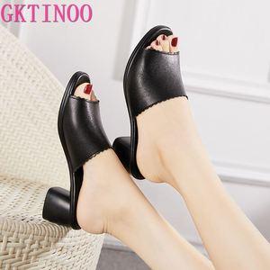 Gktinoo chinelo feminino 2020 senhoras chinelos de verão sapatos femininos de salto alto moda verão sapatos couro genuíno