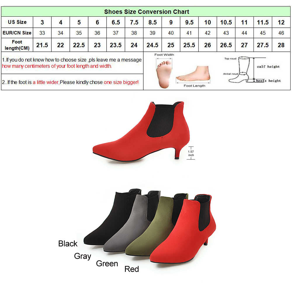 Meotina Kadın yarım çizmeler Orta Yüksek Topuklu kısa çizmeler 2018 Kış Sivri Burun Başak Topuklu Sonbahar Ayakkabı Üzerinde Kayma Yeşil Büyük Boy 46