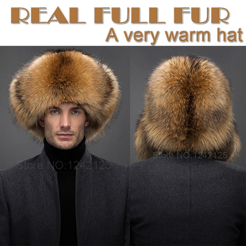 Nouveau hiver russie parent-enfant garçon hommes femmes enfants enfants réel fourrure de renard pompon chapeau chaud oreille entière Earmuff fourrure de raton laveur chapeau casquette