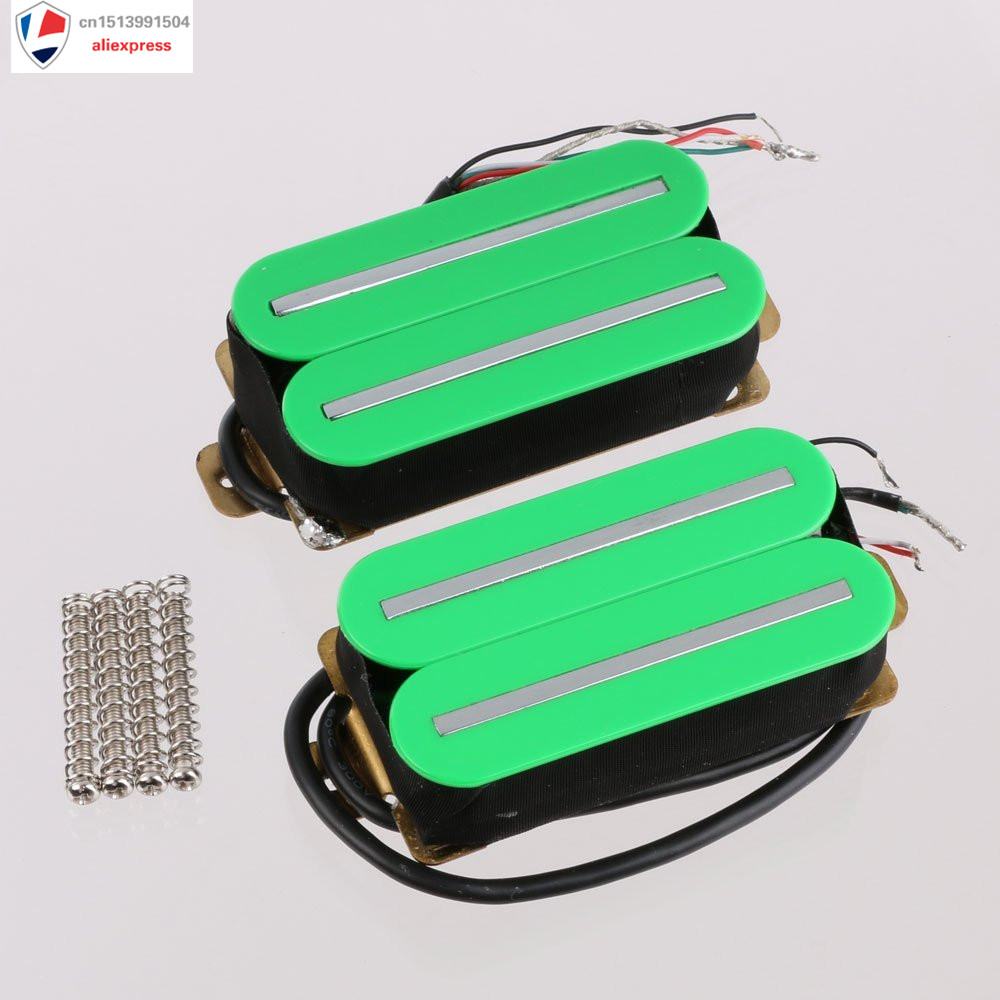 Electric Guitar Humbucker Pickup Set Neck & Bridge Ceramic Magnet Green H011 belcat bass pickup 5 string humbucker double coil pickup guitar parts accessories black