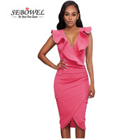 SEBOWEL 2017 Summer Ruffle V Neck Sexy Bodycon Midi Wrap Dress Elegant Formal Pencil Dress Sleeveless