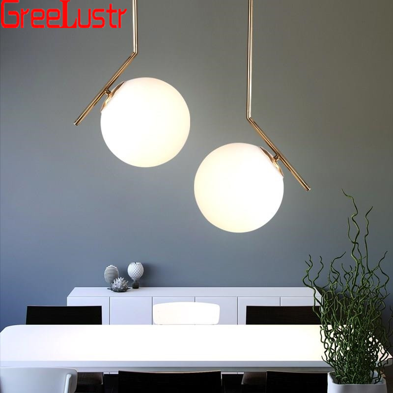 Modern Loft Glass Ball Pendant Lamp White Glass Lampshade Chandelier Hanging Lamp For Living Room Indoor Lighting Lustres AvizeModern Loft Glass Ball Pendant Lamp White Glass Lampshade Chandelier Hanging Lamp For Living Room Indoor Lighting Lustres Avize