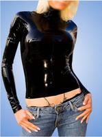 Женский латексный топ с длинными рукавами, латексная рубашка, резиновый коврик, изготовление под заказ, горячая распродажа