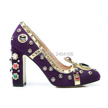 Sapatos Mulher New Luxury Party Prom Shoes Woman Round Toe Slip On Gem  Crystal Women Heels Metal Studded Block Heel Purple Pumps e8a4b2a36907