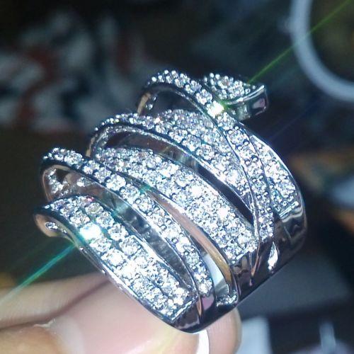 Taille 6/7/8/9 bijoux offre spéciale marque Vintage 10kt or blanc rempli AAA CZ gemme simulé pierres fiançailles bague de mariage cadeau