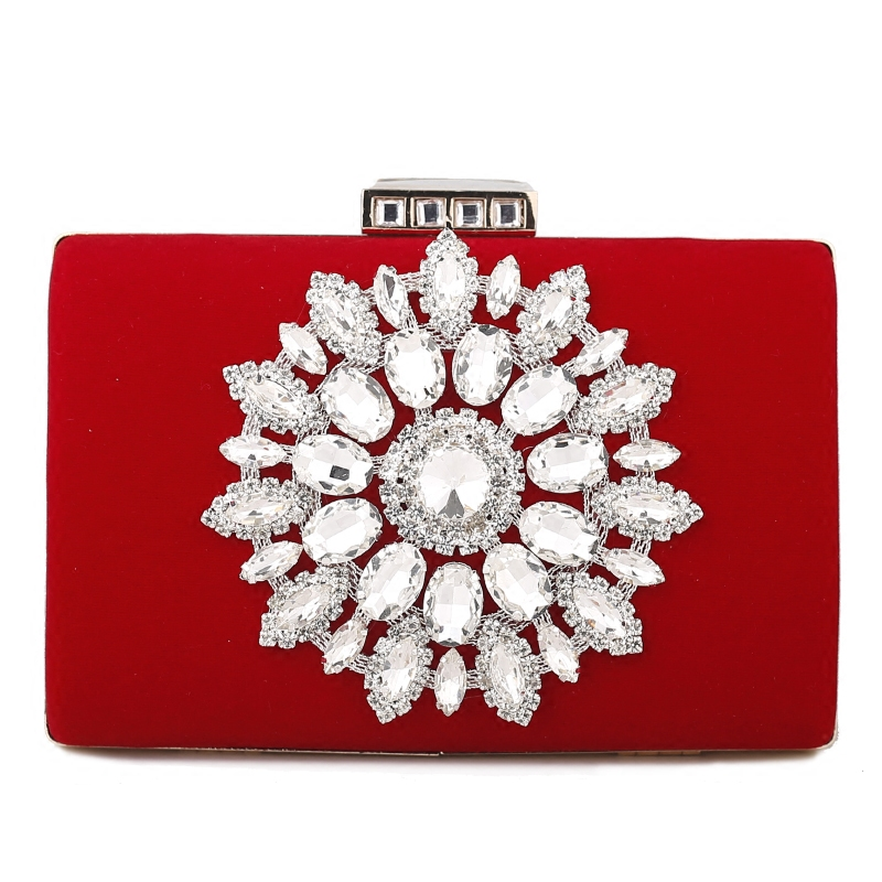 Bridal Purse Day-Clutches Blue Wallet Wedding-Handbag Crystal Ladies Diamond Party Red