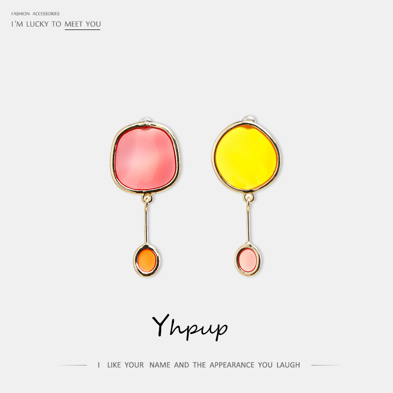 Yhpup Trendy Korean Candy Enamel Color Round Dangle Earrings Copper Geometric Minimalist Jewelry for Women Girl Summer Brincos
