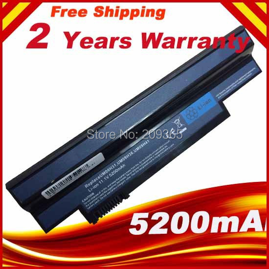 5200 mah Batterie Pour Acer Aspire One 532 h 533 AO532h UM-2009H UM09C31 UM09G31 UM09G41 UM09G51 UM09G71 UM09G75 UM09H31 AO533
