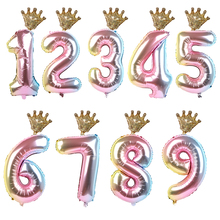 2pcs Gradient Color Happy Birthday Decorations Foil Balloon Rainbow 32inch Number Crown Balloons Wedding Party Baby Shower Decor