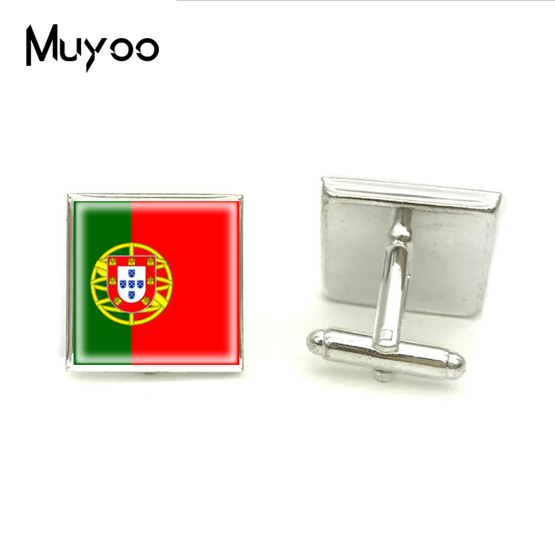 2018 New Flag of Portugal Square Cufflink Silver Glass Photo Cufflinks High Quality Brand Cuff For Groomsmen Hand Craft Jewelry