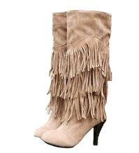 Neue Frühling Modelle Weiblichen hochhackigen Stiefel Mit Fransen Stiefeln Frauen High-top stiefel sexy beine Botas Femininas Größe 34 ~ 43