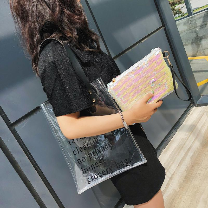 xiniu NEW Womens Fashion Transparent Letter Shoulder Bags Handbag Sequins Clutch Wallet travel women handbags 2018 tote bag