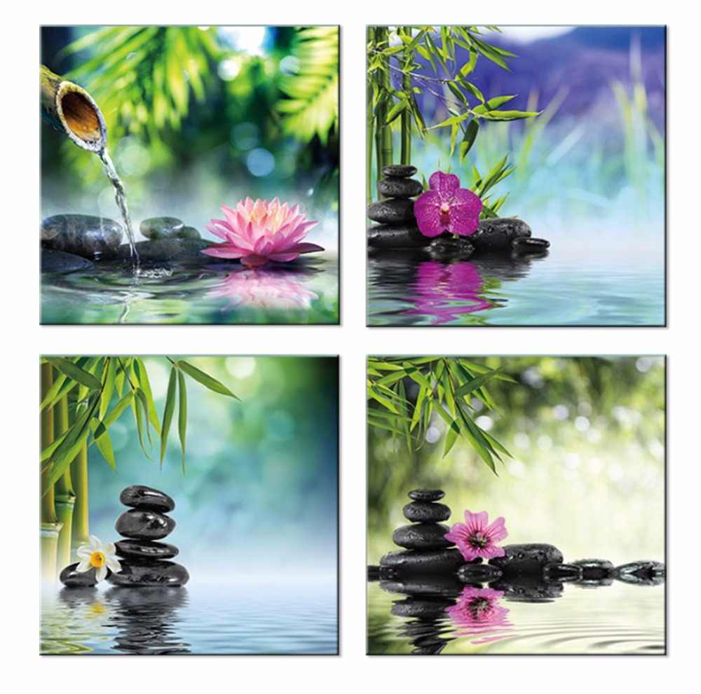 4 Piece Spa Zen Stones Canvas Wall Art Pictures Modular Wall Pictures for Living Room Bedroom Home Decorative