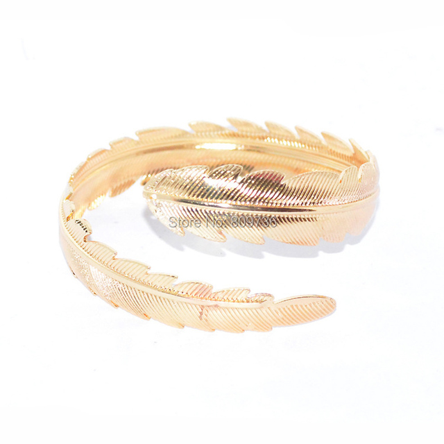 Boho Leaf Armlet Arm Cuff Bangle & Bracelet For Women Gold Silver Tone Bangles Big Exaggerated Upper Arms Jewelry Accessories