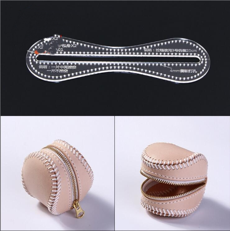 US $2 84 21% OFF New Clear Acrylic Coin purse baseball bag Pattern Stencil  Template Set Leather Craft DIY-in Sewing Patterns from Home & Garden on