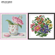 Joy Sunday Flower in Cup Counted Cross Stitch Patterns 14CT 11CT DIY Chinese Embroidery Needlework Printed on Canva