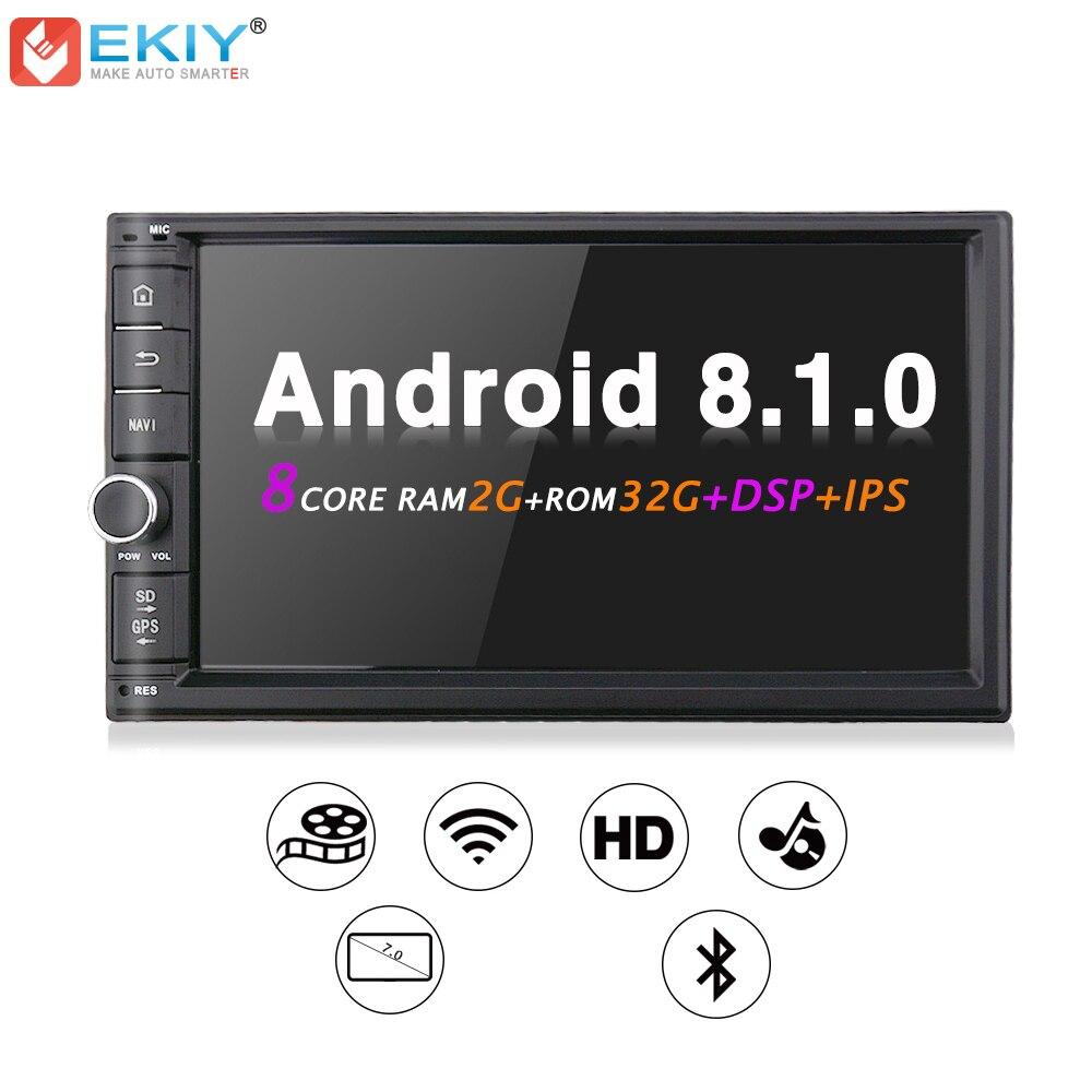 EKIY Android 8.1 8 Core 2 gb 32 gb Universale 2 Din Car DVD GPS Navigator Multimedia Player Sistema DSP musica Stereo Audio TPMS Radio
