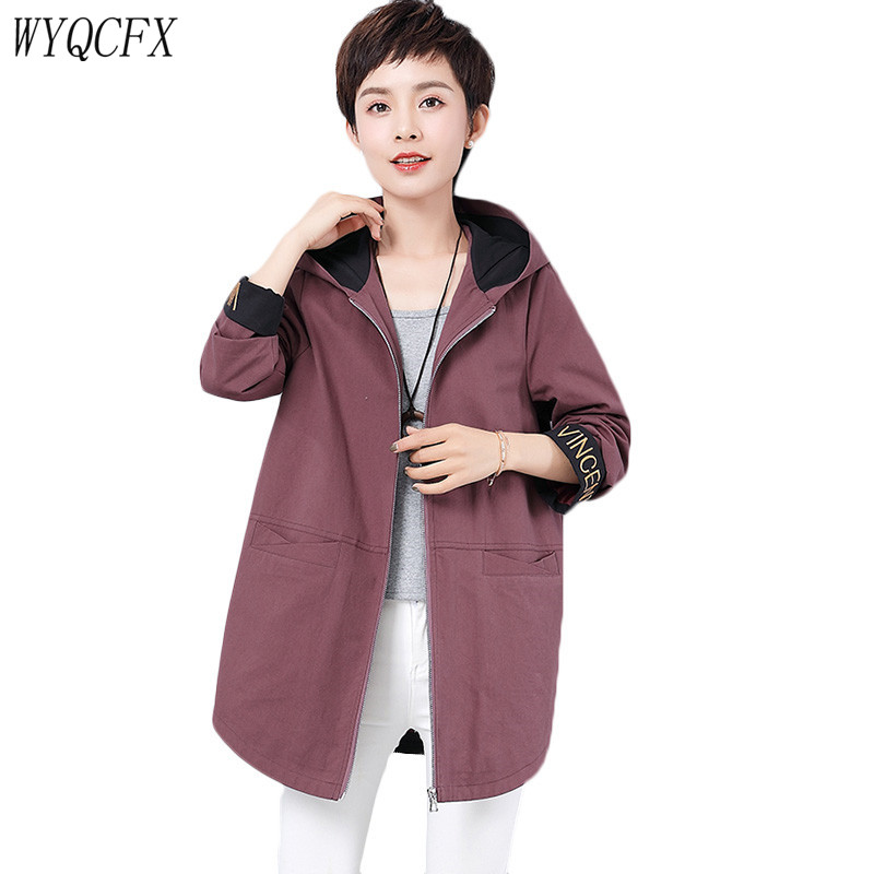 2019 Hooded   Trench   Coat For Women Casual Spring Autumn Letter Fashion Female Windbreaker Tops Plus Size 5XL Long Lady Outerwear