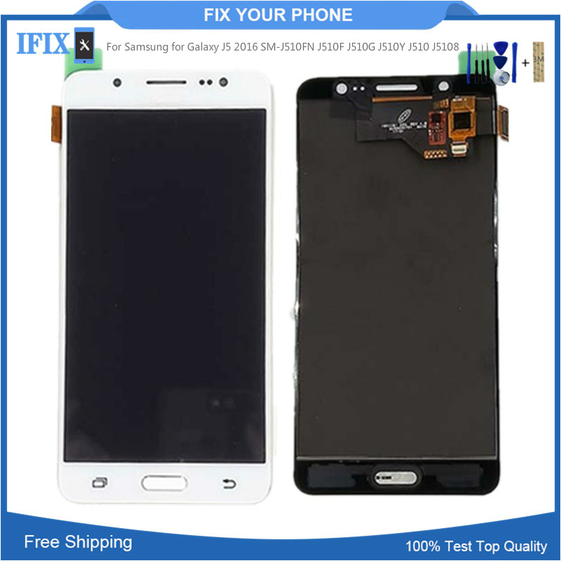 Can Adjust Brightness For Samsung for Galaxy J5 2016 SM J510FN J510F J510G J510Y J510 J5108 LCD Display Touch Screen Digitizer-in Mobile Phone LCD Screens from Cellphones & Telecommunications