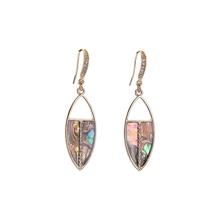 Gold Abalone Shell Egypt Scarab Earrings Women Fashion Marquise Mosaic Drop Earrings