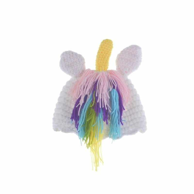 90b7098dff1 ... Colorful Rainbow Unicorn Costume Newborn Photo Props Crochet Baby Hat  Beanie Fancy Girls Clothes Infant Photography ...