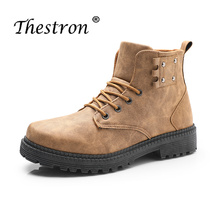 2019 High Quality Vintage Working Boots Mens Luxury Brand Work Boots Winter Fur Leather Shoes Boots For Men Formal  Warm Snow цена 2017