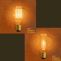 40 Вт D80 vintage edison bulb Вольфрам 220 V E27 ретро-лампы Эдисона