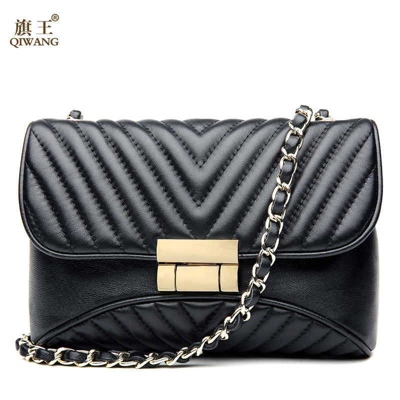 QIWANG Sheepskin Black Quilted Leather Bag with Chain Handbag High Quality Luxury Genuine Leather Quilted Chain Crossbody Bag