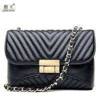 Qiwang غنم أسود مبطن حقيبة مع سلسلة حقيبة جلدية عالية الجودة الفاخرة جلد طبيعي مبطن crossbody حقيبة أسود