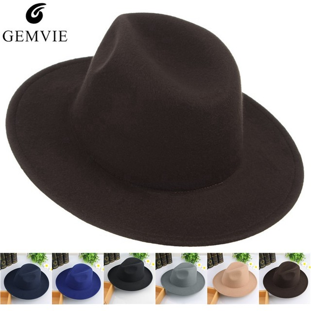 Vintage Men Hats Classical Jazz Cap Solid Color Wide Brim Felt Hats Autumn  Winter Warm Jazz 5cacf057709b