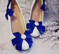 Diamant blauw boog bruiloft pompen schoenen vrouw satijn vlinder-knoop blauw witte bruid bruiloft schoenen plus size 41 42 lady party schoenen