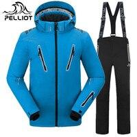 PELLIOT Brand Ski Suit Men Outdoor Mountain Skiing Suit Waterproof Thicken Warm Winter Ski Clothing Snowboarding