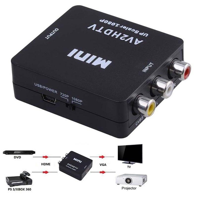 Mini Composite AV CVBS 3RCA To HDMI Video Converter Adapter 720p 1080p Black UM