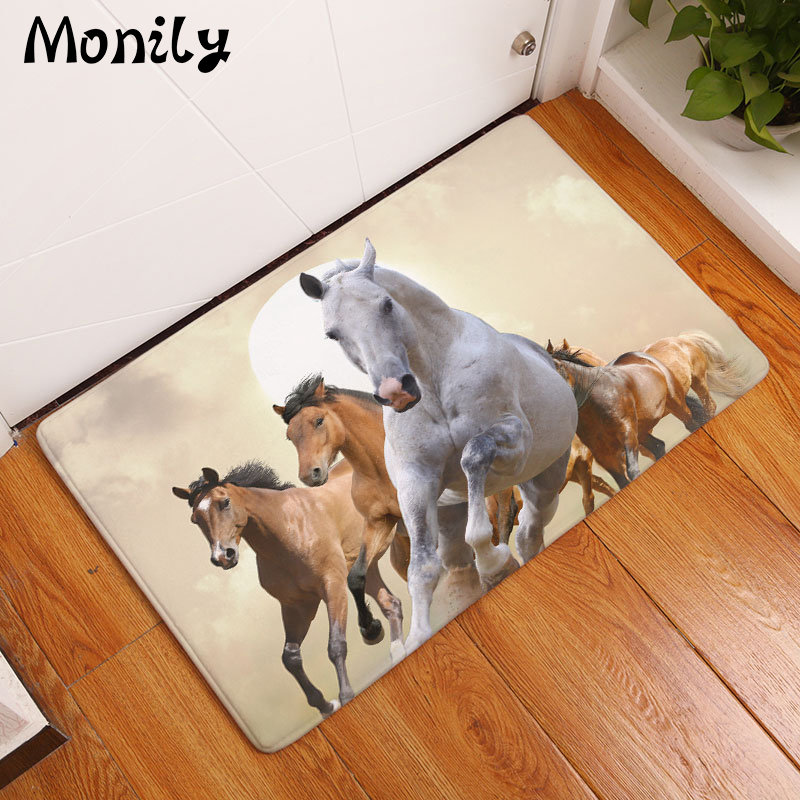 Monily Wholesale Anti-Slip Floor Mat Waterproof Animals Horse Carpets Bedroom Rugs Decorative Stair Mats Home Decor Crafts