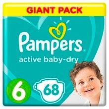 Подгузники Pampers Active Baby-Dry 13–18 кг, размер 6, 68 шт.
