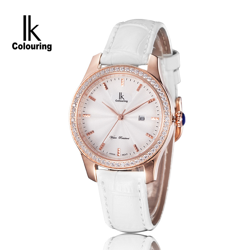 Ladies Fashion Quartz Watch Diving 100M Waterproof Sapphire Crystal Rhinestone Calendar Leather Casual Dress Women Wrist
