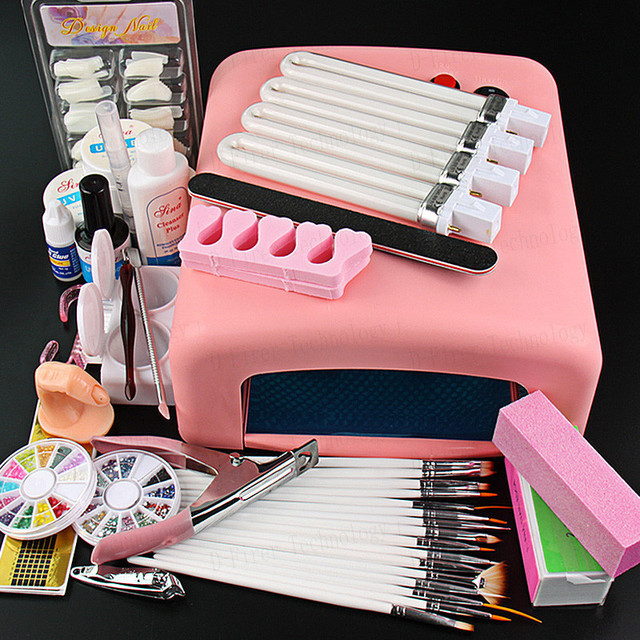 2016 New Pro 36W UV GEL Pink Lamp & 15 Brush 100pcs nail tips Nail Art Tool Kits