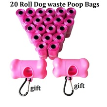1Pack=20 Rolls Dog Waste Poop Bags Pet Doggie Carrier bags With  Bone Dispenser Rainbow 6 Colors Pick Up Clean Bag