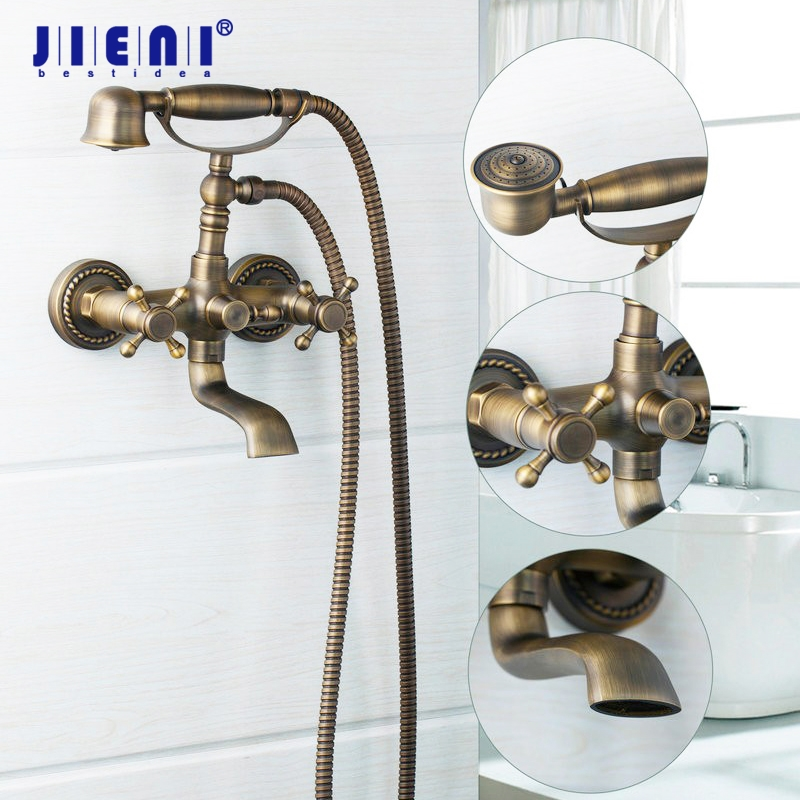 Telephone Shape Antique Bass Wall Mounted Bathroom Bathtub Mix Tap Waterfall Faucet JN8681