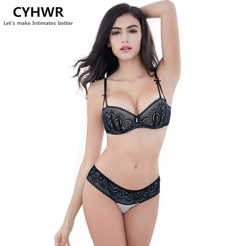 CYHWR New Arrival French Young Girls   Bra     Sets   1/2 Thin Cup   Bras   Sexy Lace Embroidery Lingerie sujetador encaje   set