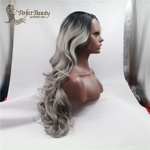 Fashion Ombre Silver Grey Big Wave Synthetic Lace Front Wig Glueless Long Natural Black/Gray Heat Resistant Hair Wigs For Women