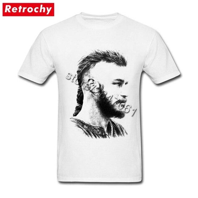2017 Branco camiseta Viking Ragnar Lothbrok Camiseta Adolescentes T-Shirt  para Os Homens de Manga dd2b530658422