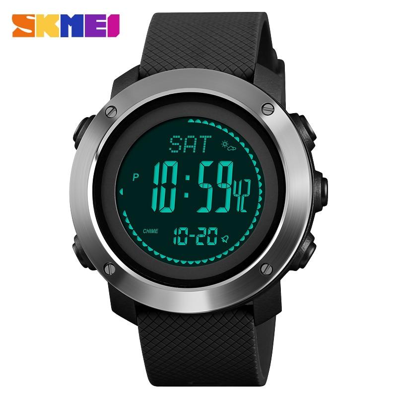 SKMEI Sports Digita Watches Fitness Tracker Temperature Pressure Clock Measurement Water Resistant Compass Wristwatch 1427