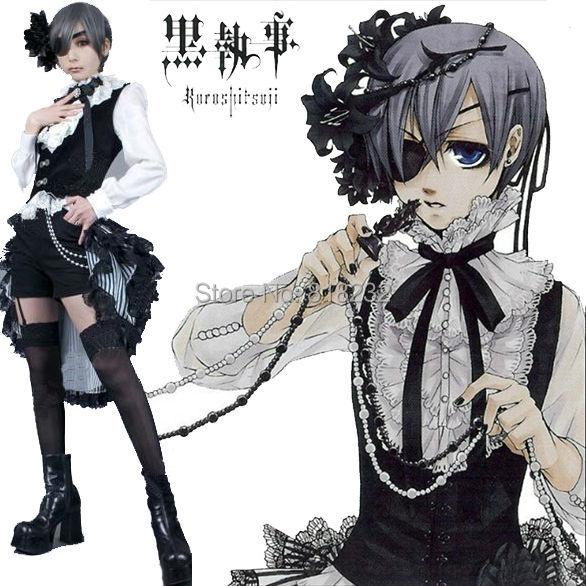 Black Butler Kuroshitsuji Circus Ciel Uniform Outfit Cosplay Costumes Vest Shirt Pants Blinder