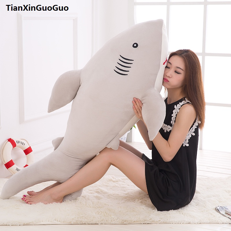 large 120cm lovely gray shark plush toy down cotton shark very soft doll hugging pillow birthday gift s0543 large 75cm gray shark plush toy soft throw pillow birthday gift xmas gift d2398