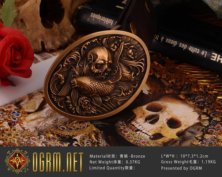 0b11f8e28a2 Detail Feedback Questions about OGRM Gothic Style Bronze Belt Handmade  Bronze Carp Skull Peony Men Belt Buckles Cowhide Genuine Leather Belt Mens  Belts ...